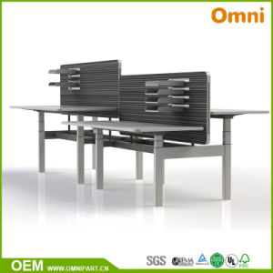 Popular Two Motors Three Stages Electric Height Adjustable Desk pictures & photos