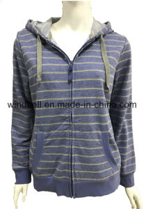 New Design Terry Hoody for Girl with Yarn Dye Stripe pictures & photos