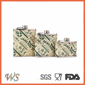 DSC_0015 Print Liquor Hip Flask/Stainless Steel Hip Flask with Leather Wrap pictures & photos