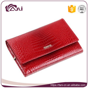 Fani Manufacture Women Wallet Red Crocodile Skin Leather Wallet Short Style Folding Lady Purse pictures & photos