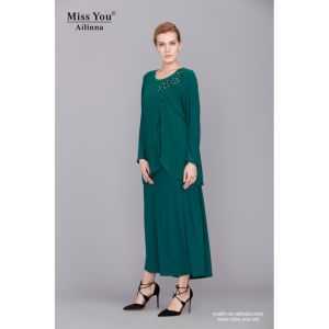 Miss You Ailinna 801896-1 Women Green Beaded Chiffon Maxi Dress pictures & photos