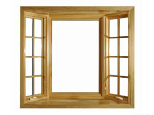 Natural Larch Wood Double Tempered Glass Solid Wood Window pictures & photos