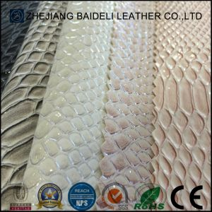 Embossed Printting Snake Grain PVC PU Synthetic Leather for Shoes and Bags pictures & photos