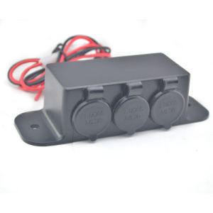 Waterproof Motorcycle Tripple Car Cigarette Lighter Socket Adapter Power Outlet pictures & photos