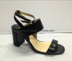Lady Kid Leather Simple Square Heel Women Sandals pictures & photos