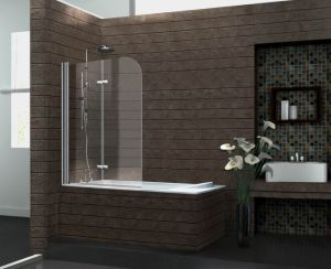 Cheap Price Bathroom Curved Tempered Glass Swing Bath Shower Screen pictures & photos