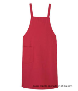 Custom Made Solid Red Cotton Twill Kitchen Cooking Bib Apron pictures & photos