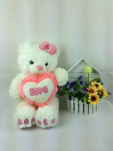 Sweet Valentine Gift Plush Pink Bear with Heart 46*30cm