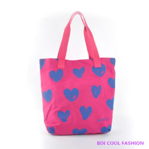 2014 New Fashion Heart Printed Canvas Bag (B14803)