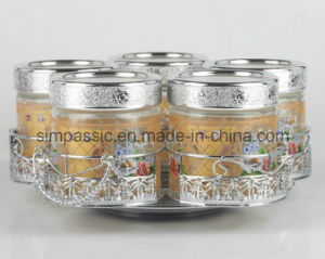 5PCS Decal Glass Storage Jar Sets with Silver Coated Lid and Bracket (SG1507SJ) pictures & photos