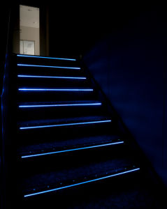 Anti Slip Carborundum Insert LED Light Stair Nosing For Cinema