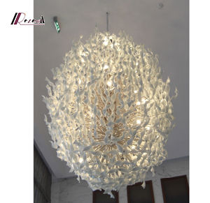 Hotel Project Designed Twisted Glass Chandelier for Lobby pictures & photos