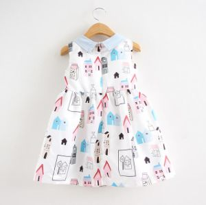 Summer Girl Stand Collar Dress in Kids Clothes pictures & photos
