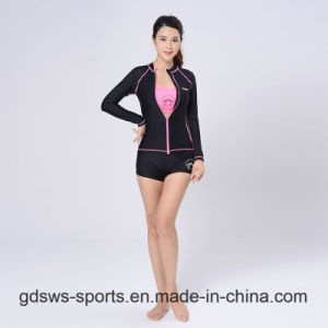 Women Sexy Long Sleeve Zip-up Top Track Suit Rash Guard