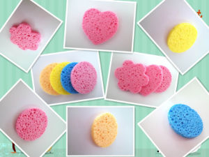 Wholesale 2017 New Pulp Wood and Cotton Cleaning Sponge Makeup Remover Sponge pictures & photos