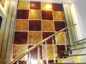 Phantom Art Glass Tile in Living Room (Brown Ring)