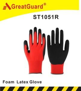 Foam Latex Coated Glove (ST1051R) pictures & photos