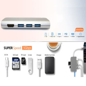 USB C Hub 8 in 1 Aluminum Multi Port Adapter Combo Hub for MacBook Type C Hub to HDMI 4K Ethernet Charging Port SD/Micro Card Reader and 3 USB 3.0 Ports pictures & photos