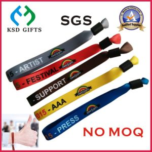 Plastic Lock Polyester Textile Woven Festival Event Cloth Wristband (KSD-982) pictures & photos