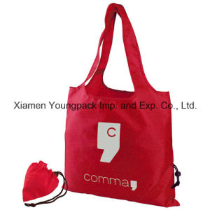 Red Promotional Custom Foldable Reusable 190t Polyester Shopper Tote Bag pictures & photos