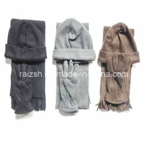 Three-Piece Warm Fleece Scarves Hat and Gloves pictures & photos