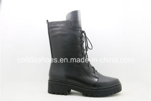 Full Leather Lace Ladies Boots with Simple Designs pictures & photos