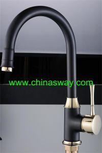 Kitchen Sink Mixer, Granite Faucet, Black + Gold (SW-09584-Q12J) pictures & photos