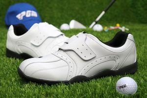 Rubber Genuine Leather Hook & Loop Golf Shoes for Men (AKGS26) pictures & photos