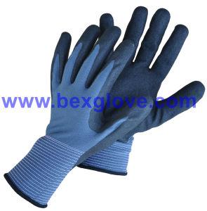 13 Gauge Nylon Liner, Nitrile Coating, Sandy Finish Safety Gloves pictures & photos
