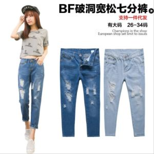 P1124 Ripped Ladies Ripped Denim Jeans Wholesale pictures & photos