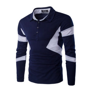 Autumn Striped Polo Shirt Long Sleeve Men (A412) pictures & photos