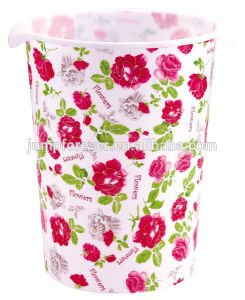 Best Selling Practical and High Quality Plastic Flower Pattern Trash Bin with Handle