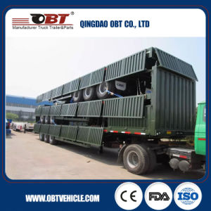 50-60ton Flatbed Trailer with Sidewall Detachable Semi Trailer pictures & photos