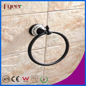 Fyeer Classic Black Bathroom Accessory Wall Mounted Brass Towel Ring pictures & photos