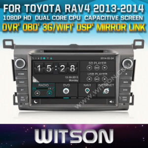 Witson Car DVD Player with GPS for Toyota RAV4 2013-2014 (W2-D8120T) Mirror Link Touch Screen CD Copy DSP Front DVR Capactive Screen pictures & photos
