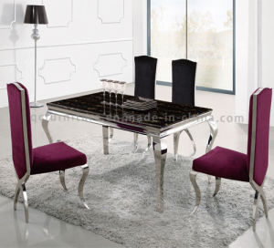 8 Seater Stainless Steel Marble Dining Table with Chairs pictures & photos
