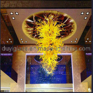 Yellow Blown Glass Chandelier Lamp for Ceiling Decoration
