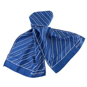 New Style Uniform Scarf Blue Stripes 100% Silk Printed Logo Scarf pictures & photos