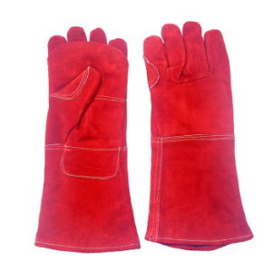 16 Inch Red Heavy Duty Leather Safety Working Gloves for Welding pictures & photos