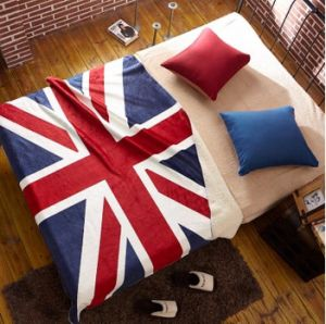 100% Polyester Coral Fleece UK Flag Design Baby Blanket pictures & photos