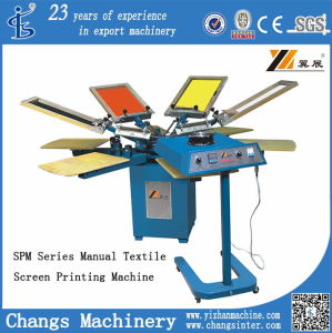 Spm 4 Colors Manual Rotary T-Shirt/Leather/Wood/Textile/Garments/Clothes/Shirt/Glass/Paper/Card Printer/Printing Machine pictures & photos