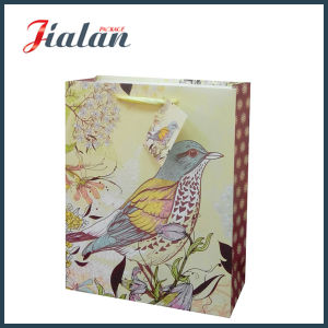 Customize with Glitter Birds Ivory Paper Hand Shopping Gift Bag pictures & photos