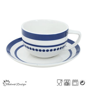 8oz Porcelain Cup and Saucer with Elegant Blue Decal pictures & photos