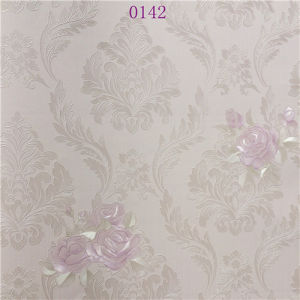 European Type Eco-Friendly Embroidery Decorative Pink PVC Wallpaper pictures & photos