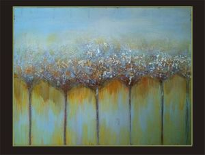 Hot Sell Abstract Tree Paintings with Silver Golden Foil (LH-021000) pictures & photos