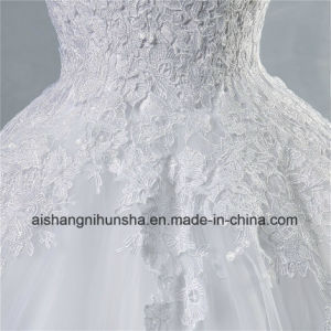 Tulle Lace Formal Crystal Beaded Wedding Dress pictures & photos