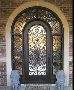 Round Top Wrought Iron Door with Transom and Side Lites pictures & photos