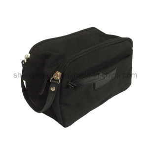 Black Cotton Cosmetic Bag with Rubber Logo Stitching