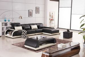 with LED Light Leather Living Room Furniture U Shaped Sofa pictures & photos