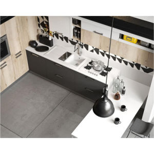 Fashionable L-Shaped Gray Matt Lacquer Kitchen Cabinet with Countertop pictures & photos